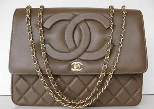 CHANEL Quilted JUMBO Brown Flap Bag Chain Purse Handbag