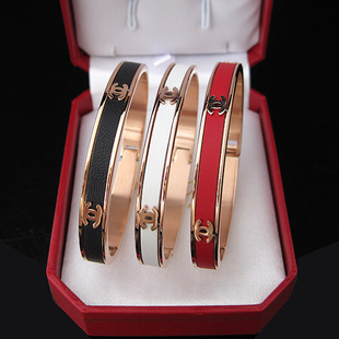 high quality chanel  gold leather bracelet