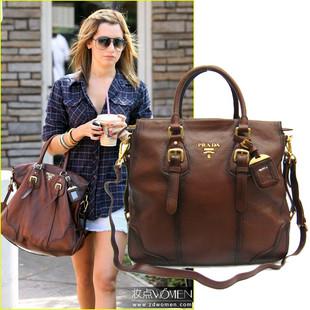 Prada women's real leather bags tote bag handbags aaa