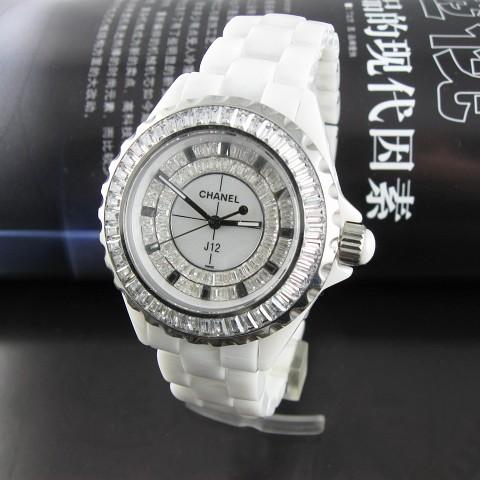 Chanel J12 100% Full Ceramic diamond White Ladies' 001