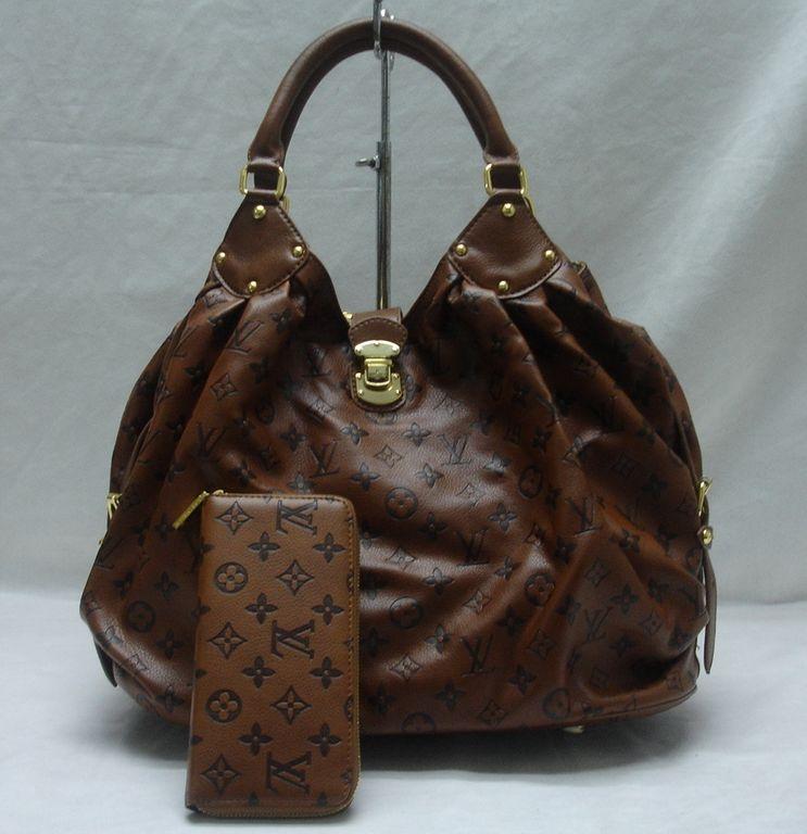 Louis vuitton brown mahina matching wallet