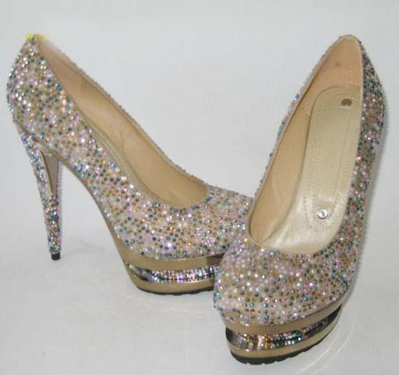GIANMARCO LORENZI 14cm High Heel Diamond Golden Shoes i