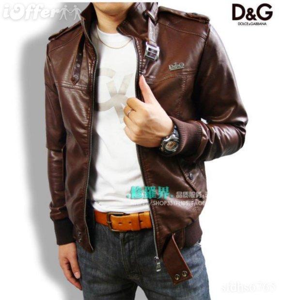Dolce & Gabbana New D&G Men DG leather Jacket D