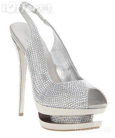 NWT Gianmarco Lorenzi Silver Peep toe Shoes m