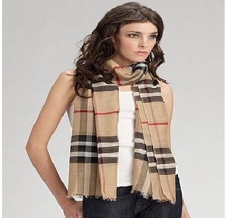 Burberry Camel White Wool Silk Gauze Scarf with Tags