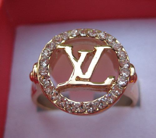 louis vuitton womens Mens 14K yellow gold GP Ring Rings crystal new