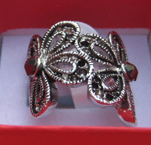 womens mens 14k white gold GP silver color Ring gemstone Rings flower