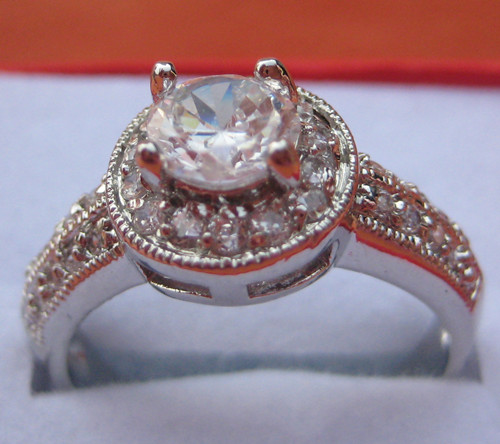womens Mens fashion 14K white gold GP silver color Ring Rings crystal
