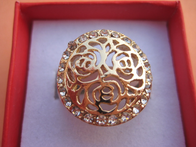 chanel coco new womens fashion 14K yellow gold GP Ring Rings crystal
