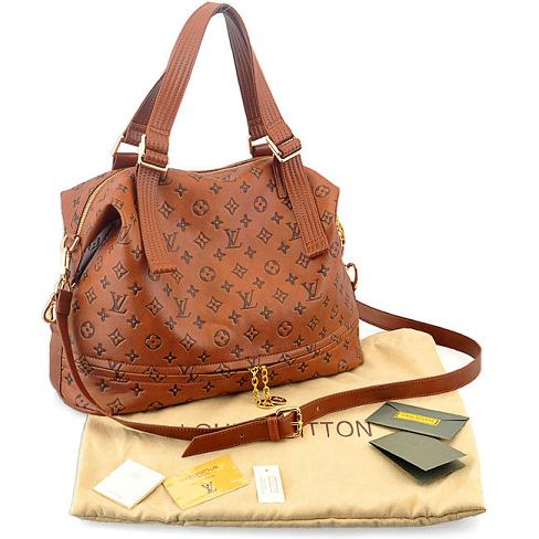 Louis Vuitton LV brown / tan cow leather bullet tote handbag bag purse