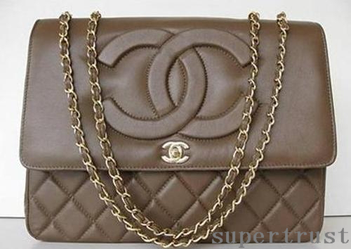 CHANEL Quilted JUMBO Brown Flap Bag Chain Purse Handbag