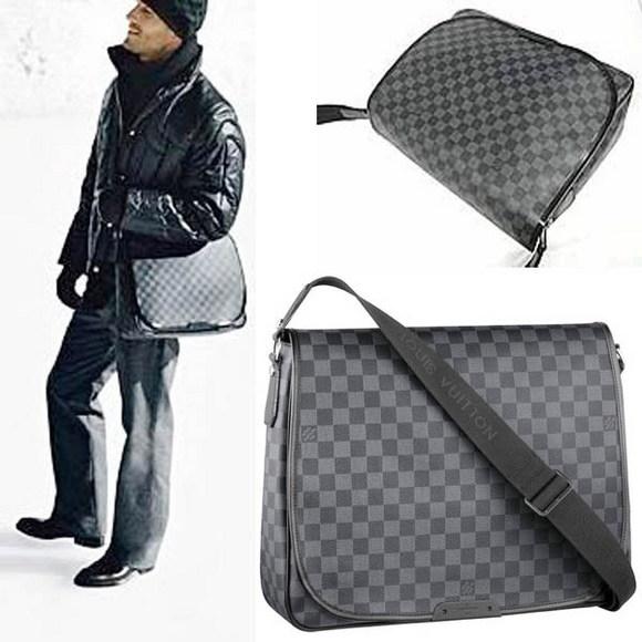 mens lv louis vuitton grey damier Messenger handbag Bag