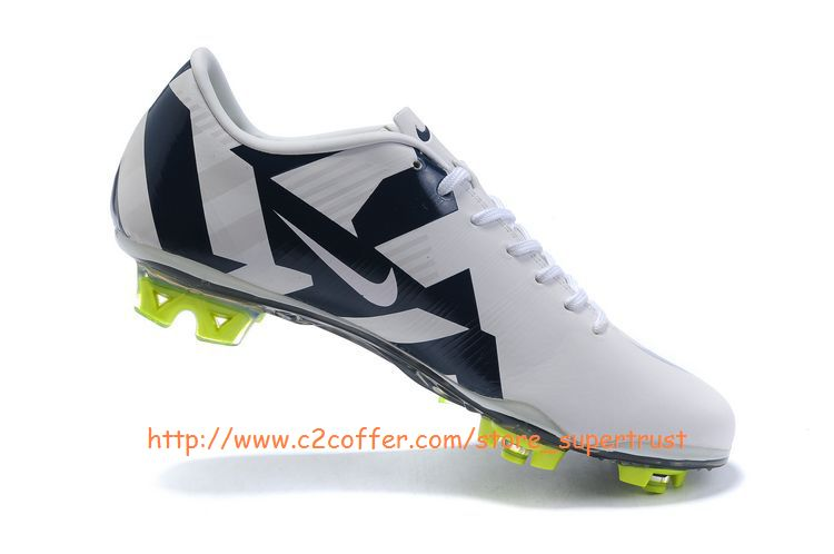 Mercurial Vapor Superfly III FG Cleats White/Blue2