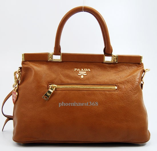 2011 Prada handbag brown tote leather bag shoulder bag