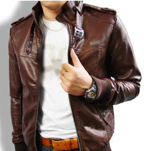 Dolce & Gabbana New D&G men leather Jacket coat brown