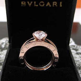 Free shipping 18k gold bvlgari finger ring+diamond 2 1