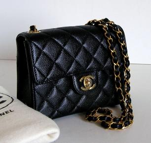 Chanel 2.55 Caviar Leather Mini Flap Bag 53 .56tq5