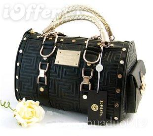 Versace black bag handbag purse with gold hardware c