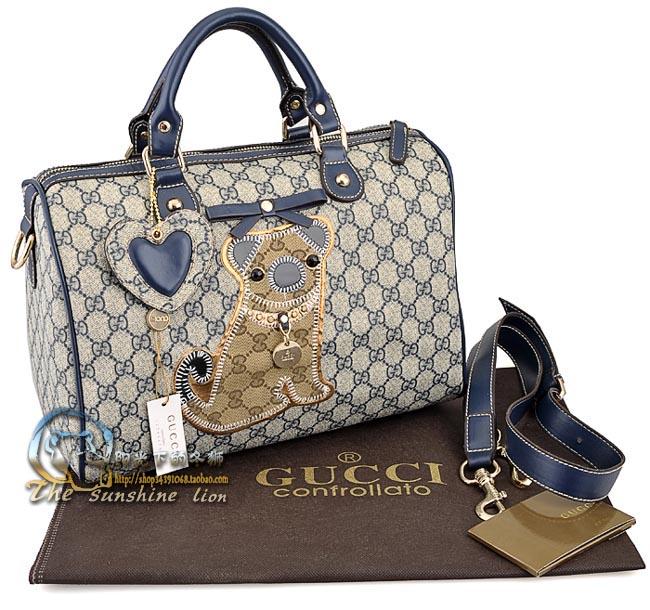 Gucci GG boston tote handbag bag navy blue purse dog print new