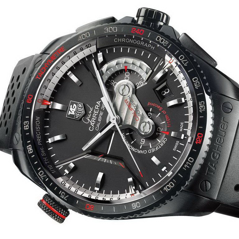 TAG Heuer Steel Men's bla ck watches leather band