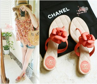 Chanel word slippers camellia flat sandals shoes CX