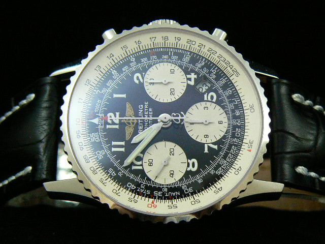 BREITLING NAVITIMER ch rONO LEATHER 3 SUBDIAL AND WINDOW