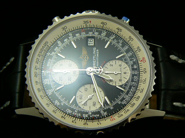 BREITLING NAVITIMER ch rONO LEATHER SUBDIAL AT 3 7750