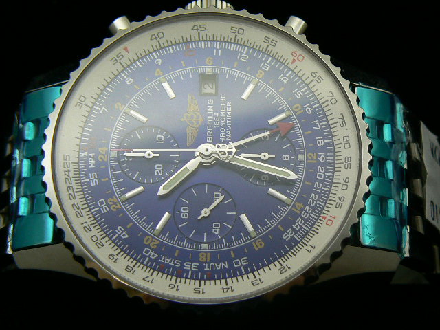 BREITLING NAVITIMER GMT WORLD ch rONO BLUE 7750