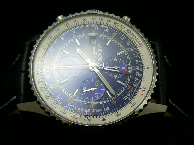 BREITLING NAVITIMER GMT WORLD ch rONO LEATHER 7750