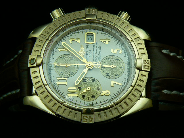 BREITLING EVOLUTION GOLD ASIAN 7750 SILVER LEATHER