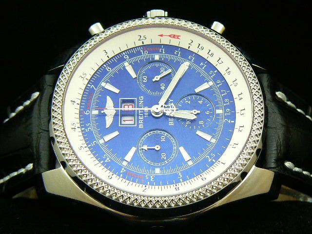 BREITLING BENTLEY BIG DATE 7750 SEC AT 3 LEATHER BLUE
