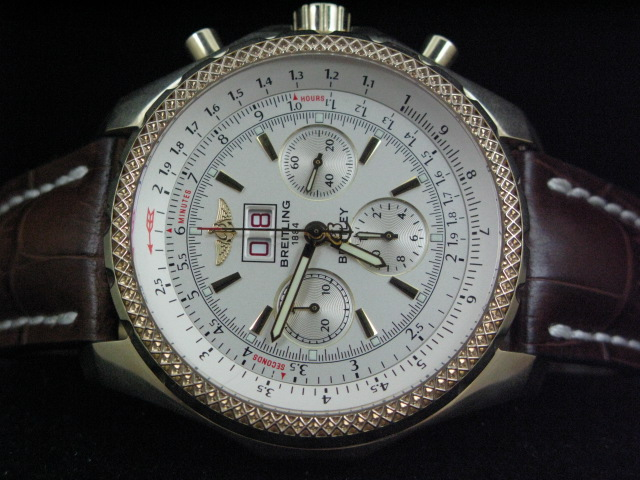 BREITLING BENTLEY BIG DATE GOLD WHITE DIAL LEATHER