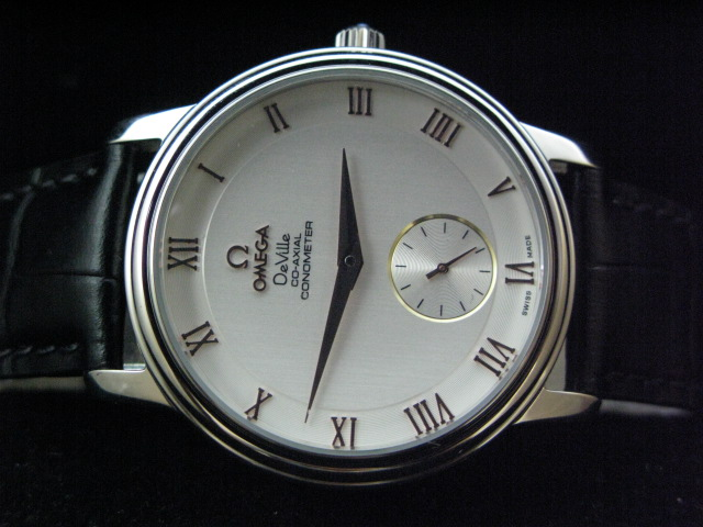 OMEGA DEVILLE CO-AXIAL HAND WINDING WHITE DIAL LEATHER