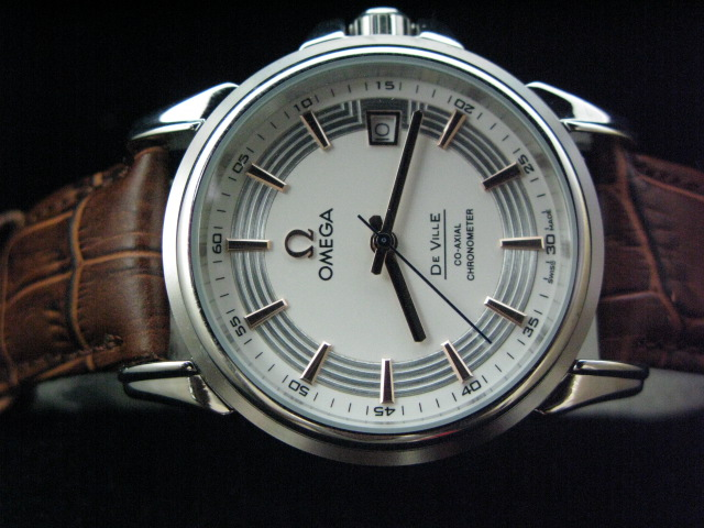 OMEGA DEVILLE CO-AXIAL AUTO WHITE DIAL LEATHER