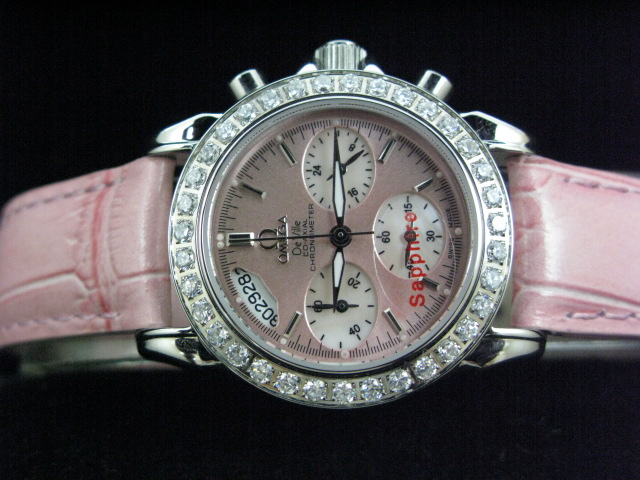 OMEGA DEVILLE CO-AXIAL QUARTZ DIAMOND PINK LEATHER