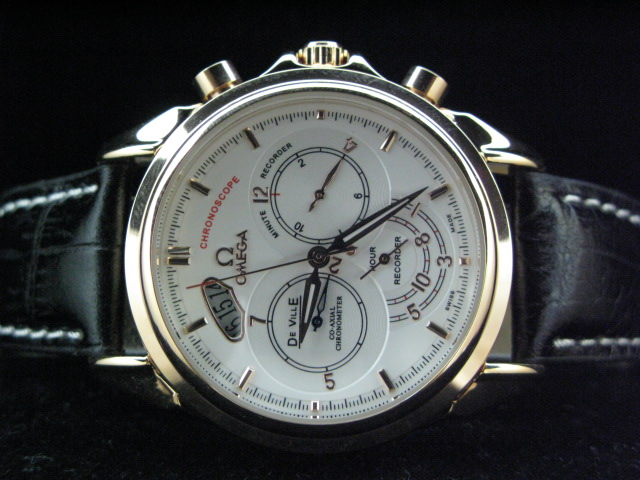OMEGA DEVILLE CO-AXIAL AUTO GOLD CASE WHITE DIAL LEATHE