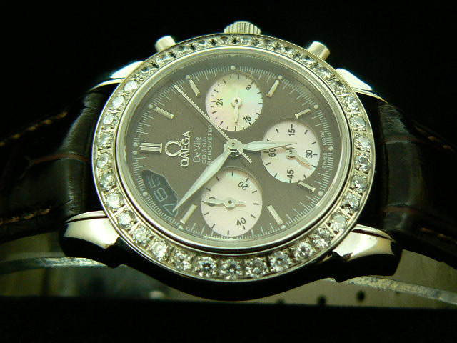 OMEGA DE VILLE CO-AXIAL QUARTZ BROWN DIAMOND BEZEL