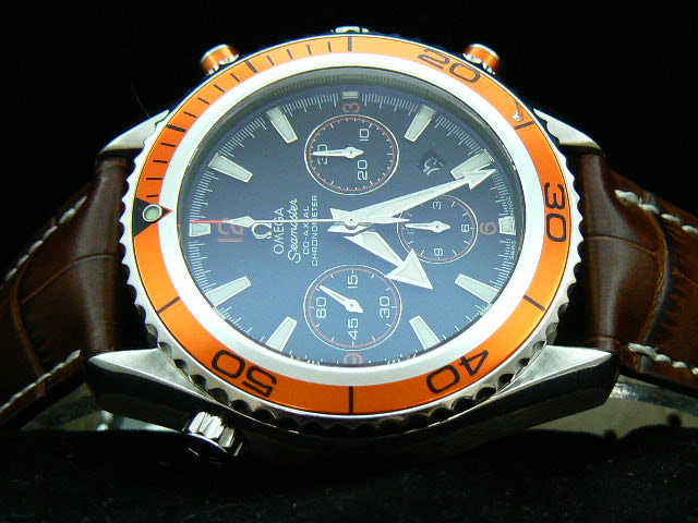 OMEGA PLANET OCEAN ch rONO 7750 ORANGE / BROWN LEATHER
