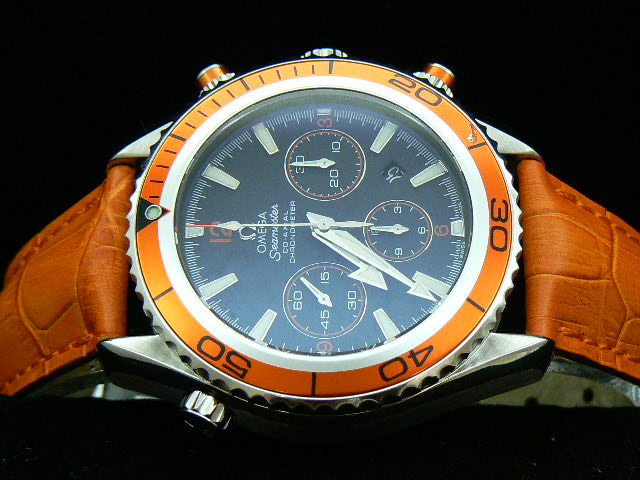OMEGA PLANET OCEAN ch rONO 7750 ORANGE / ORANGE LEATHER