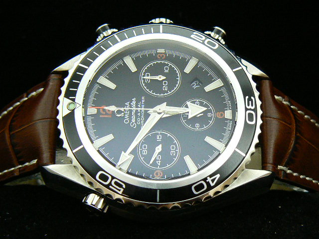 OMEGA PLANET OCEAN ch rONO 7750 BLACK / BROWN LEATHER