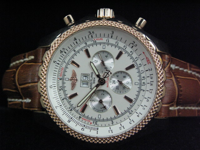 BREITLING BENTLEY GOLD AUTO ch rONO WHITE DIAL LEATHER