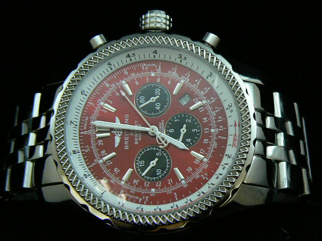 BREITLING BENTLEY 30S ch rONO AUTOMATIC RED DIAL BRACELE