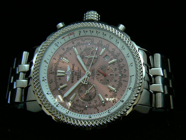 BREITLING BENTLEY 30S ch rONO AUTOMATIC PINK DIAL BRACEL