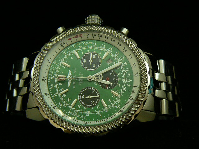 BREITLING BENTLEY 30S ch rONO AUTOMATIC GREEN DIAL BRACE