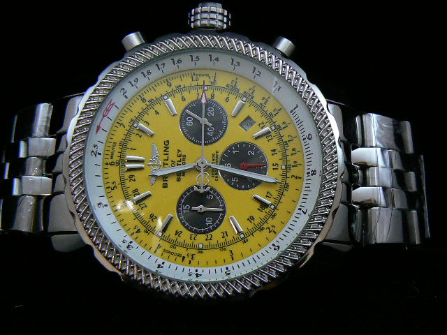 BREITLING BENTLEY 30S ch rONO AUTOMATIC YELLOW DIAL BRAC
