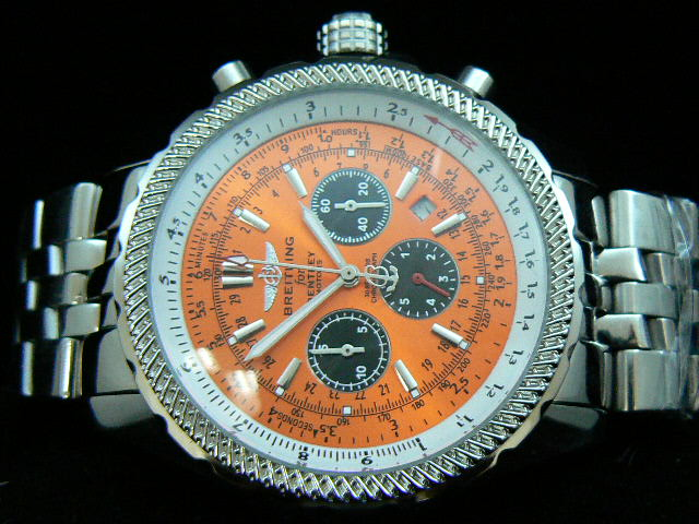 BREITLING BENTLEY 30S ch rONO AUTOMATIC ORANGE DIAL BRAC