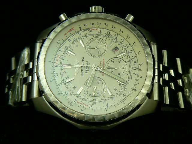BREITLING BENTLEY MOTOR ch rONO WHITE BRUSHED 7750 A