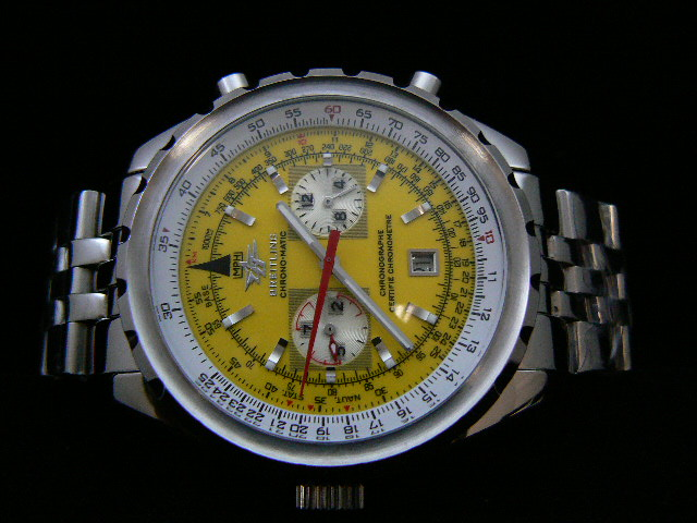 BREITLING ch rONO-MATIC AUTOMATIC YELLOW 2 SUBDIAL