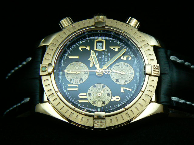 BREITLING EVOLUTION GOLD ASIAN 7750 BLACK LEATHER AAA