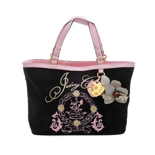 Juicy Couture Butterfly Heart cha rmed Tote Bag Black-Pi